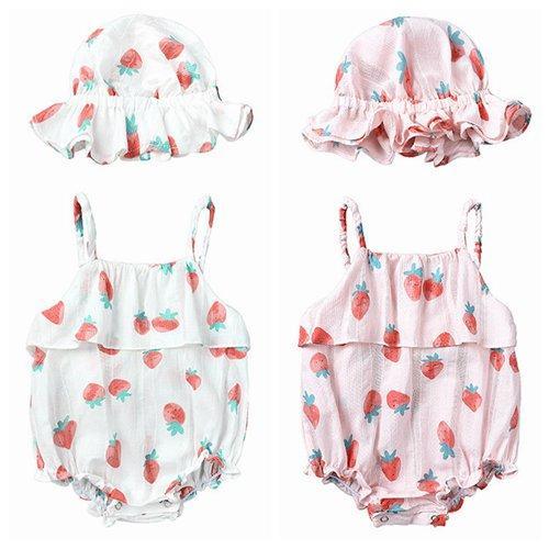 2019 verano infantil bebé niña ropa niños boutique ropa niño sol sombrero fresa tirantes monos onesies recién nacido mamelucos mono