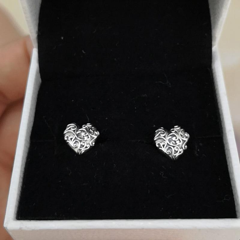 Pendientes al por mayor de joyería de corazón lujo del diseñador para Pendientes Pandora aristocrática del corazón 925 Señora con la caja