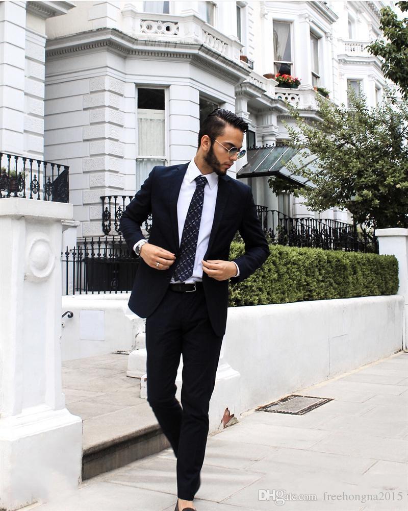 2020Handsome Мужчины свадебные костюмы Slim Fit Жених Формальная одежда Лучшие мужские смокинги Groom Бизнес Мужские костюмы (куртка + Pant)