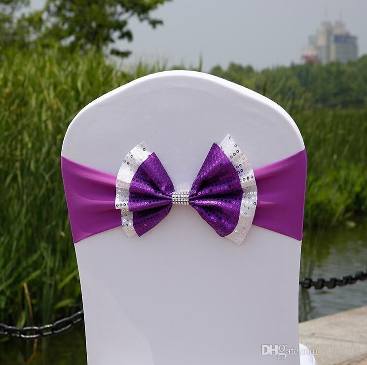 Paillette Sedia di cerimonia nuziale telai della copertura della sedia dello Spandex elastico Banda di prua con fibbia per Accessori Matrimoni Partito Event