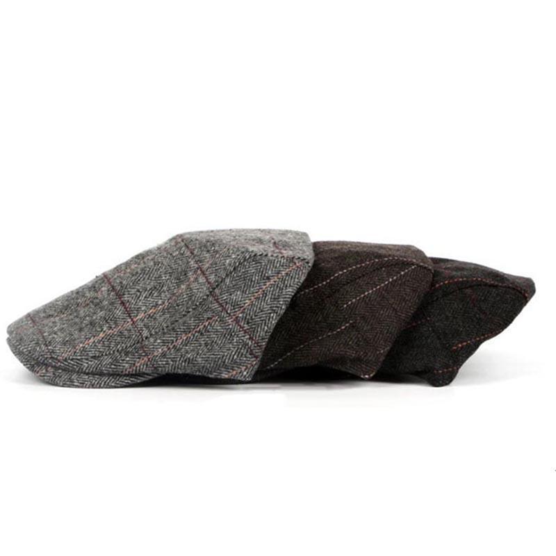 2018New otoño invierno de la boina del casquillo unisex para hombre del sombrero de la boina de algodón a rayas Inglaterra británica retro mujeres de los hombres de lana Gorra Plana Boina Sombrero