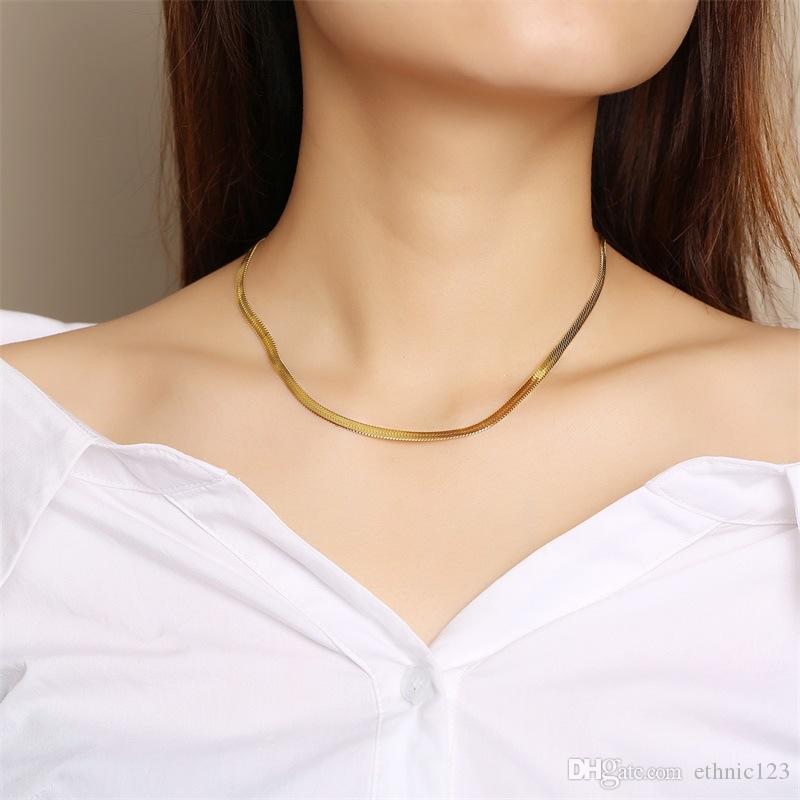 4mm Or Argent Couleur Mode Simple En Acier Inoxydable Collier De Chaîne De La Chaîne Collier Bijoux Cadeau pour Femmes Filles J473
