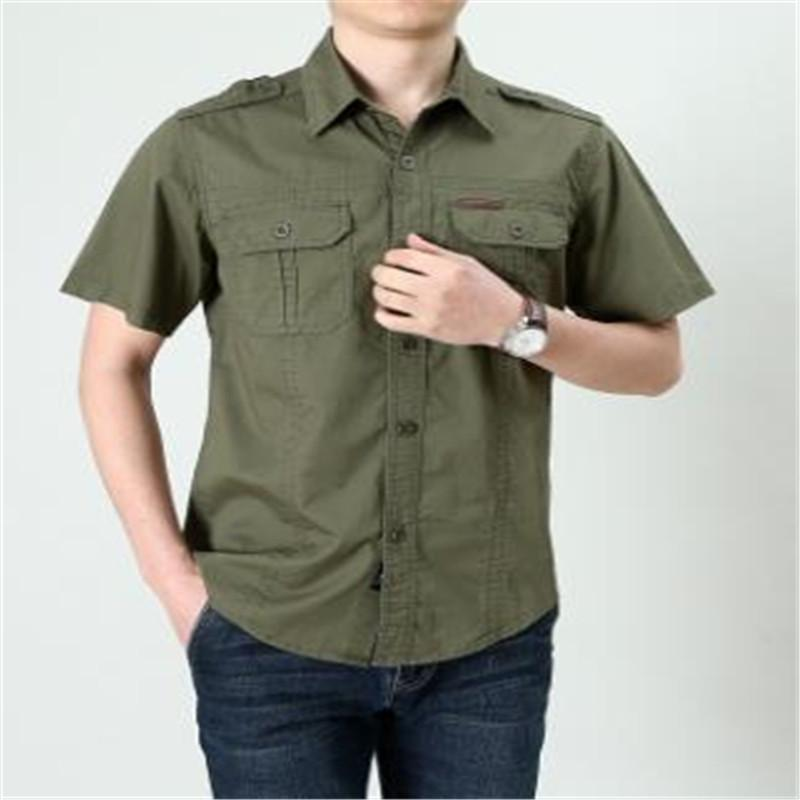 Summer Mens Designer Shirts Solid Color Short Sleeve Single Breasted Pocket Tops Military Style Male Clothing