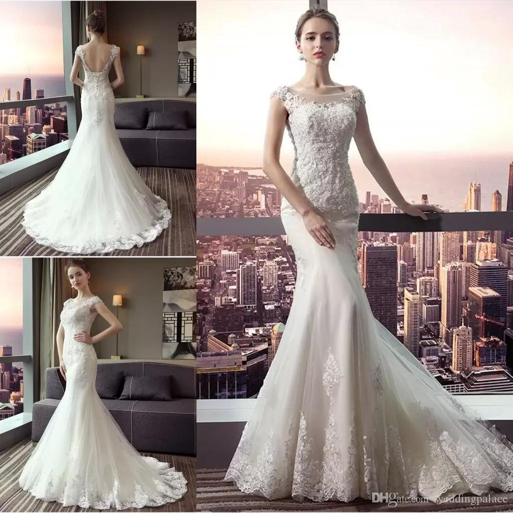Vintage Lace Beads Mermaid Wedding Dresses Jewel Neck Sleeveless With Backless Bridal Long Train Wedding Gowns CG01