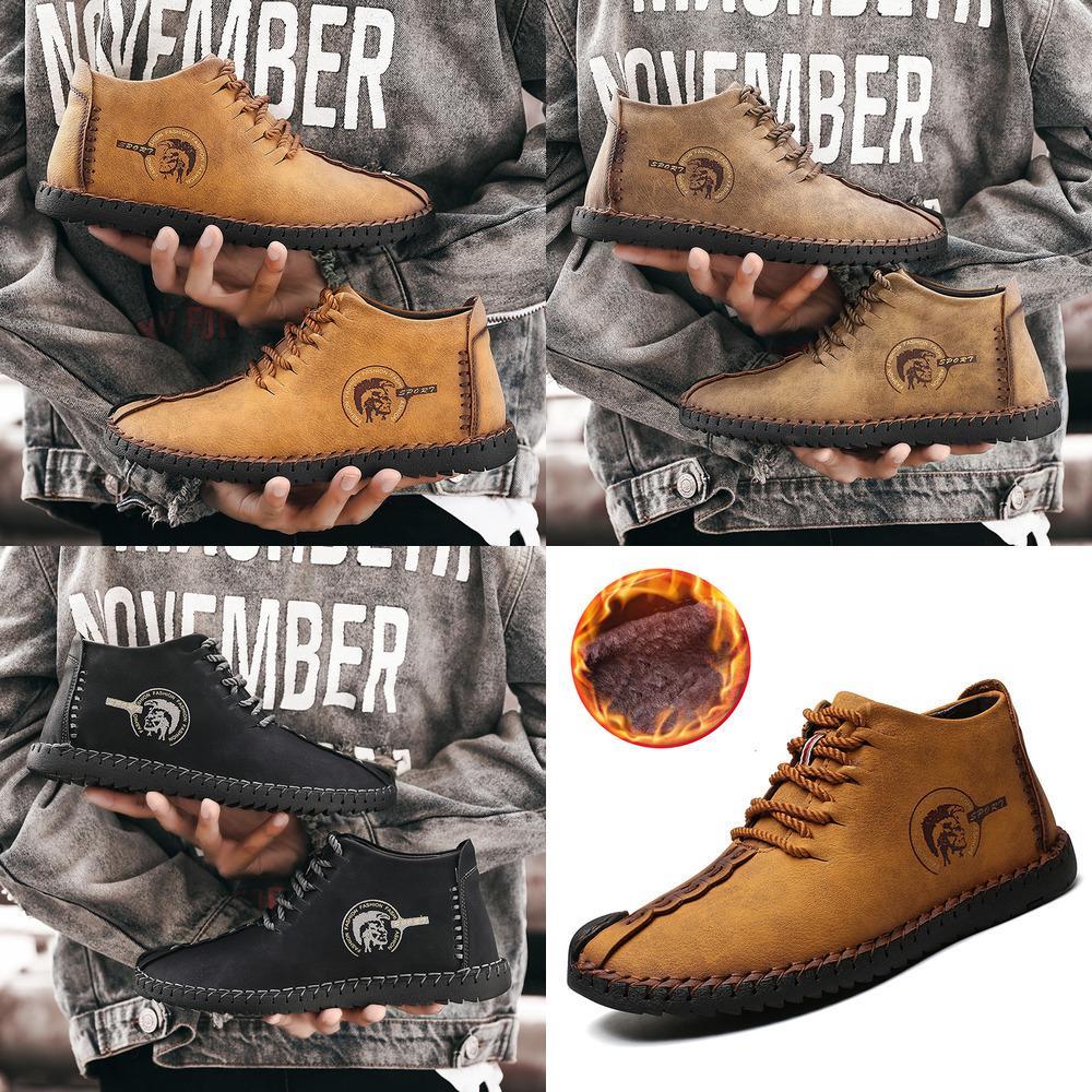 2019 Männer laden Winter-Leder mit hohen Qualität Warmer Schnee Stiefel Lace-Up mit Pelz leichte wasserdichten Knöchel-Schuhe New Large Size 48