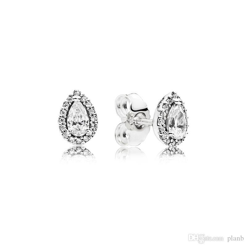 CZ Diamant Ohrstecker für Frauen Luxus Schmuck mit box für Pandora 925 Sterling Silber Tear drop Hochzeit Ohrring Set