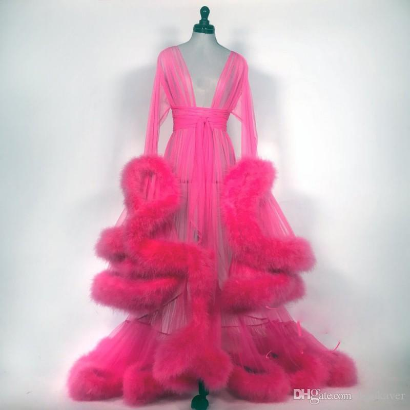 Robe De Mariée Sexy Women Bathrobe Faux Fur Sleepwear Sheer Nightgown Long Sleeve Long Robe Spa Bridal Boudoir Robe Holiday Party Costume
