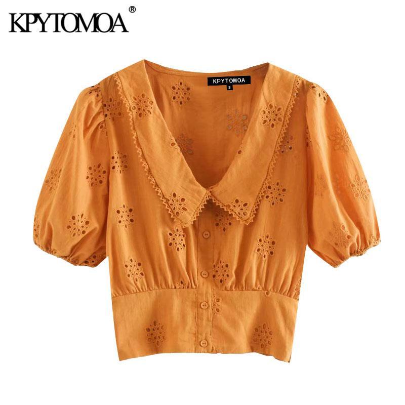KPYTOMOA Mulheres 2020 Tops Moda oco Out bordado recortado lapela Blusas Vintage Collar manga curta fêmeas Shirts Chic