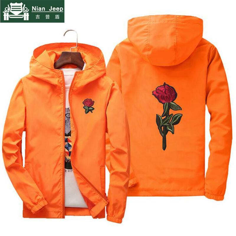 Nianjeep bordado rose flower blusão jaqueta homens puls tamanho s 7xl com capuz jaqueta bomber pele dos homens jaquetas jaqueta masculina