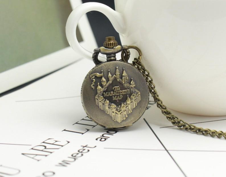 Стимпанк бронза мародеры карта дизайн карманные часы Кварцевые ретро кулон часы с цепочкой ожерелье дети часы подарки