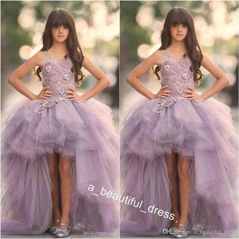 Real Image Lavender High Low Girls Pageant Dresses Lace Tulle Ball Gown Children Party Dresses Flower Girls Dresses FG1306