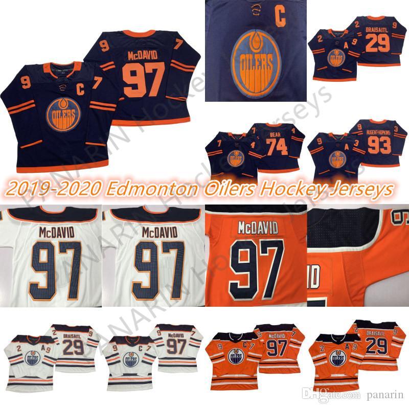 Edmonton Oillers 2019-2020 Третий Джерси 97 Коннор McDavid 99 Уэйн Гретцки 29 Leon Draisaitl 93 Jerseys Hockey Ryan Nugent-Хопкинс