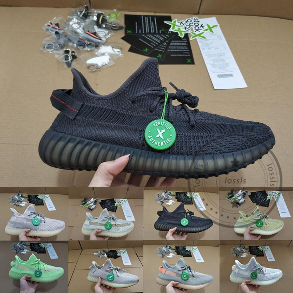 X della Kanye West V2 riflettente Scarpe Donna Uomo formatori Black Angel riflettente Sport Jogging Walking Designer scarpe da tennis Taglia 36-48 Esecuzione