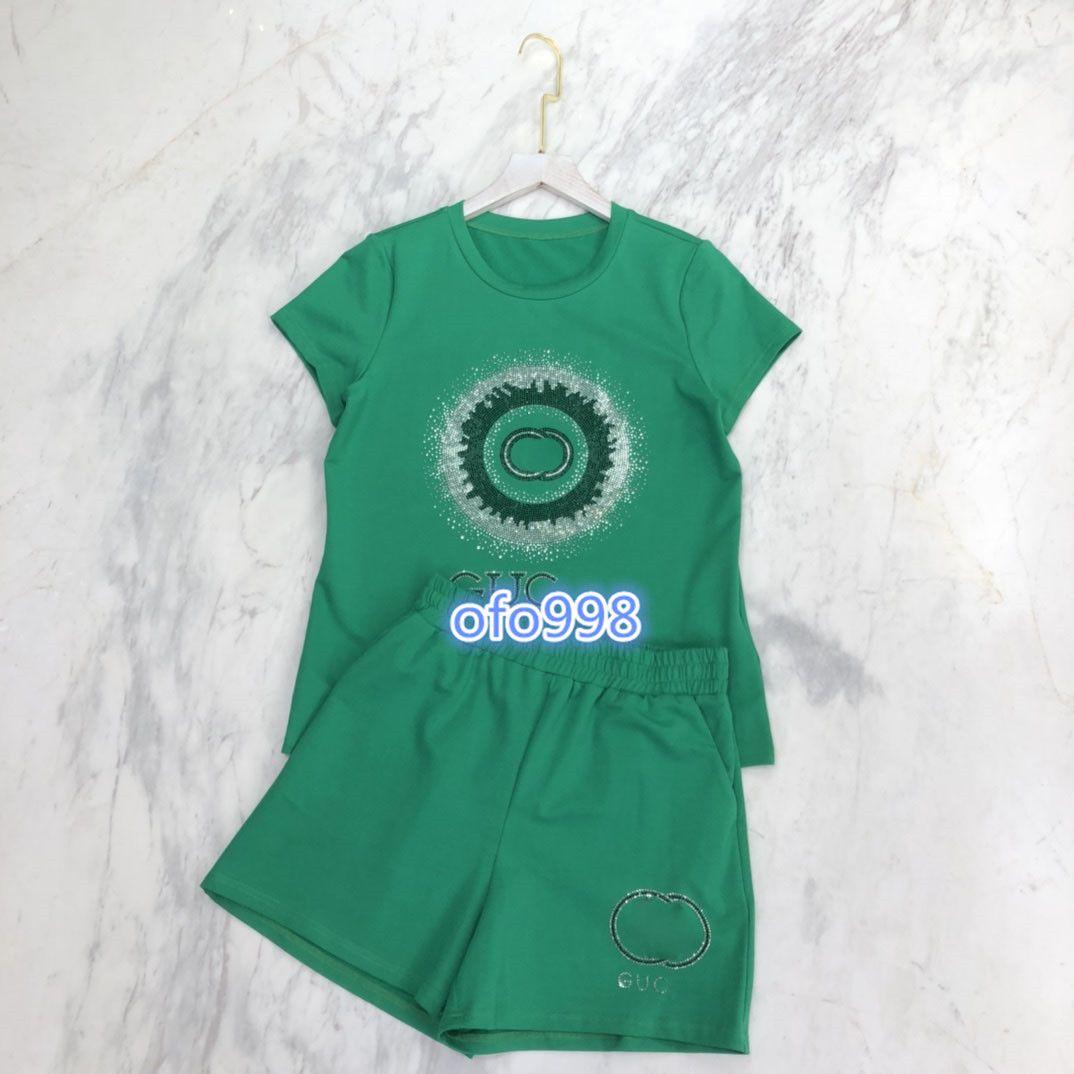 2020 high end women girls short sleeve t-shirt letter hot drill print tops sweater and elastic waist letter print shorts fashion women suit