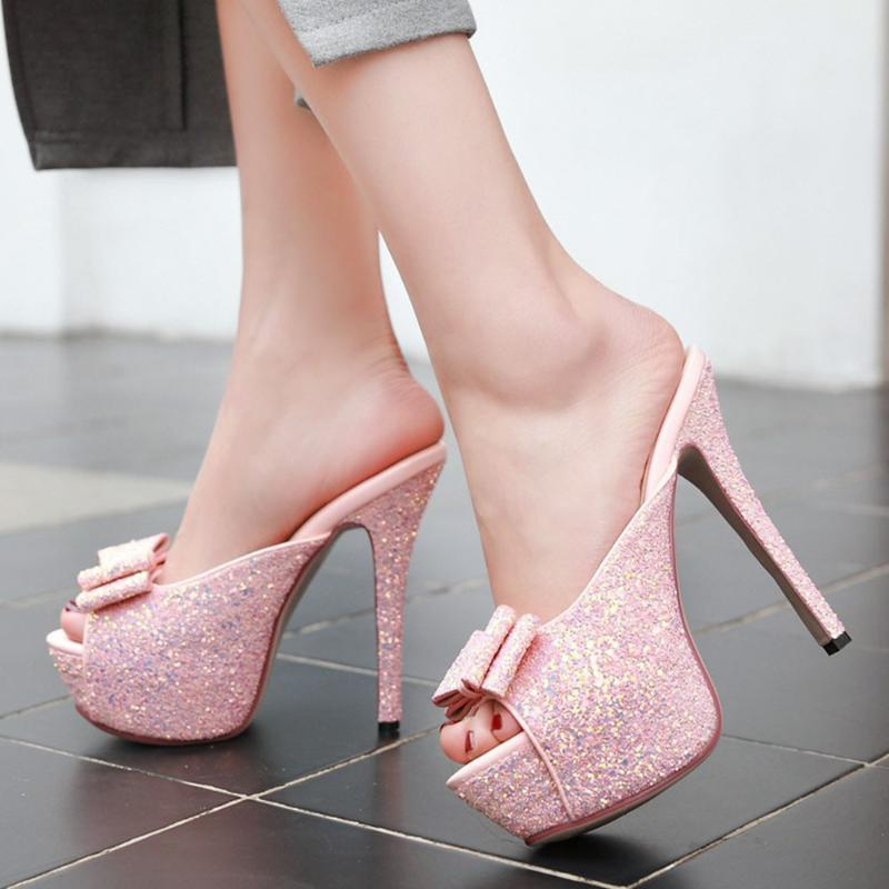 Karin Wholesale Sexy Sweet Bow Extreme High Heels Plus Size 43 Shoes Women Platform Party Summer Mules Slippers Woman