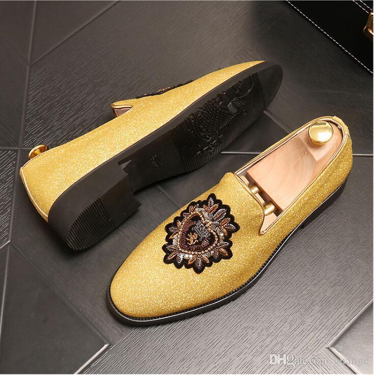 Nueva llegada británicos zapatos formales del bordado hombres del estilo masculino planas de apriete de cuero Negro Casual punta estrecha zapato plano de los hombres de la moda se visten E219