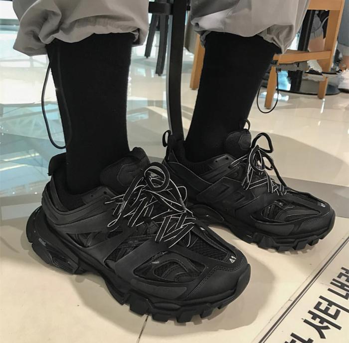 vendimia de la manera de los hombres zapatillas de deporte gruesas Hip Hop zapatos casual hasta la calle grueso cordón de Plataforma Pisos Zapatos del baile zapatos tenis hombre LY191210