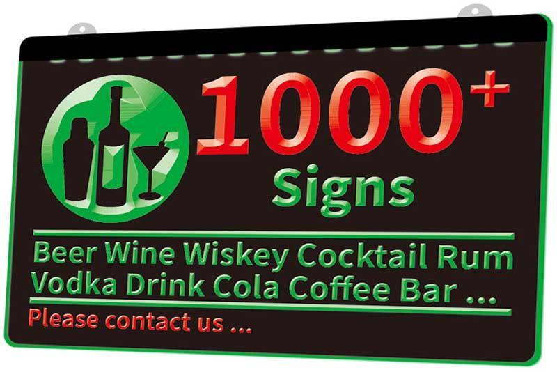 1000+ Signes Bière Vin Wiskey Cocktail Rhum Vodka Boisson Cola Bar Coffee Club Pub New LED 3D Lumière Couleur de signe multiple