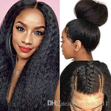 Cabelo Kinky peruca dianteira do laço Humano Perucas brasileiro 360 Lace Wig Frontal 180 250 Densidade italiano Yaki peruca de cabelo humano