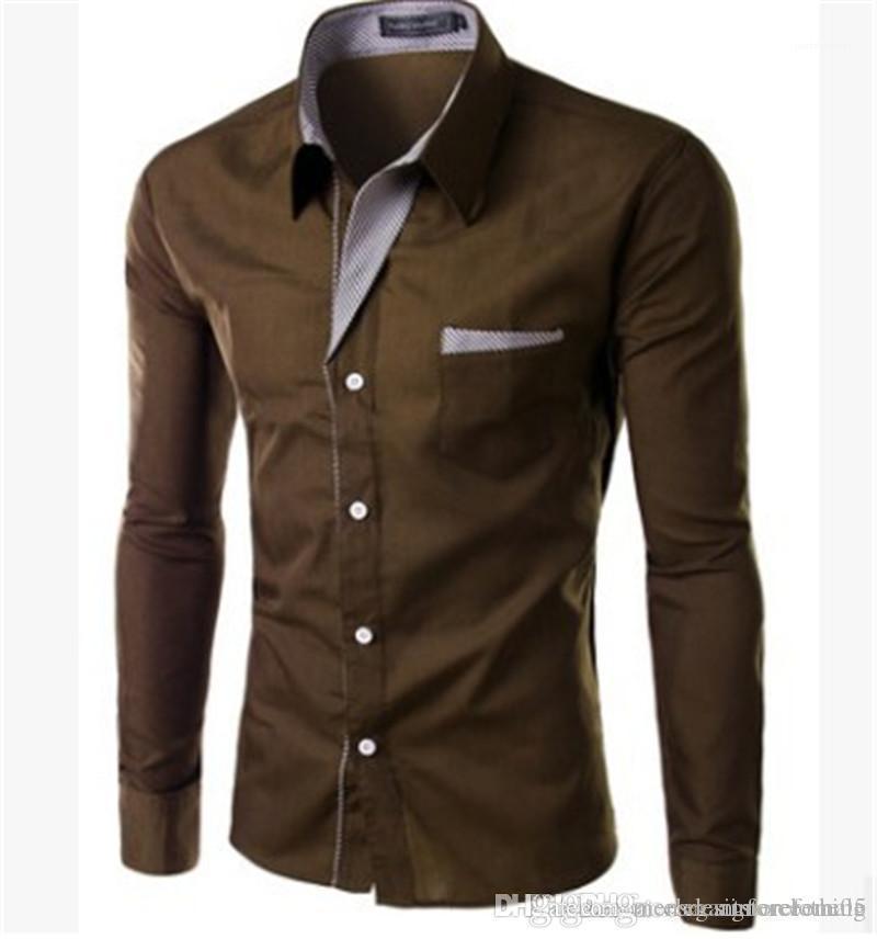 Sleeve Lapel Neck Mens Shirts Fashion Solid Color Female Clothing Designer Mens Shirts Slim Dress Long