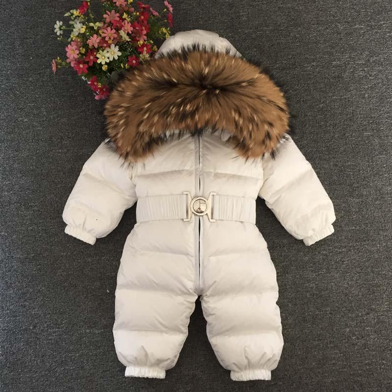 Bambino giù tuta Boy cappotto di pelliccia di inverno della ragazza Giù pagliaccetto Ragazze Body Bambini giacche di pelliccia Cintura naturale