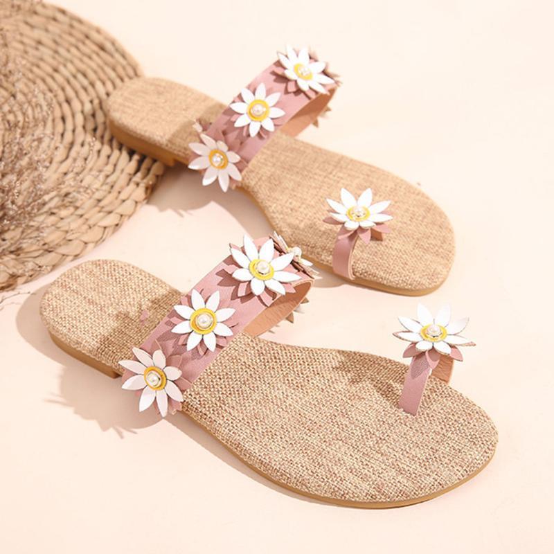 Verão Sandals Flor Mulher Falhanço de aleta Casual Mulheres Verão Sapatos Bohemia Plano Sandálias Doce Praia sapatos tamanho 35-41 6.5