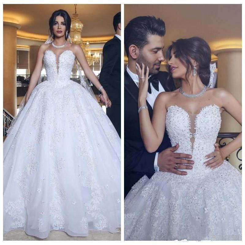 2021 화이트 스가 레이스 아플리케 볼 가운 웨딩 드레스 민소매 신부 드레스 패션 아랍 중동 가동 vestidos de 결혼