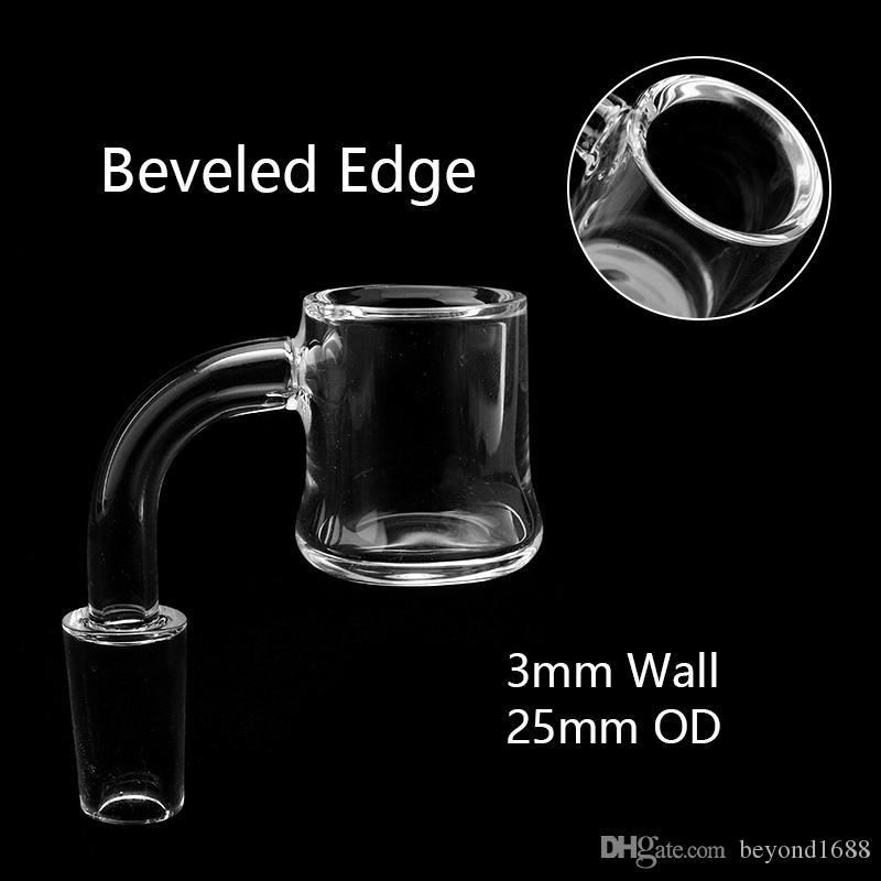 Beracky Scientific Joint 3mm Beveled Edge Quartz Evan Shore Banger 10mm 14mm 18mm Male Female Quartz Nails For Glass Water Bongs Dab Rigs