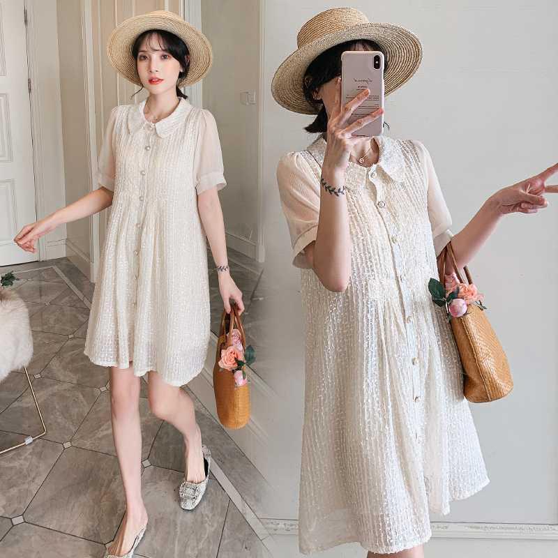 Gebelik Elbise Moda şifon Yaz Casual analık Kısa Kolsuz vestidos Hamile Giyim yeni 2020 Afei Tony