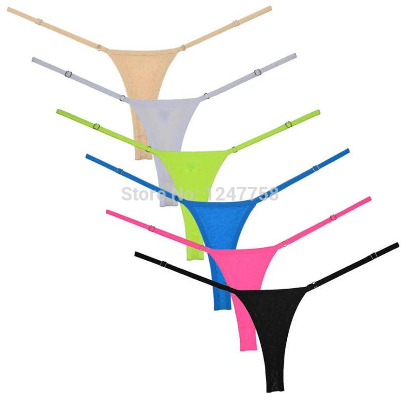 Women G-String Adjustable Very Low Rise Underwear Perfect Fit Spandex Micro Thong