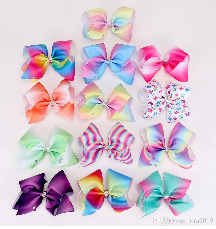 8 inch giant Style 18cm big rainbow bowknot hair clip pins hairclips with crystals bow hair accessories for kids children