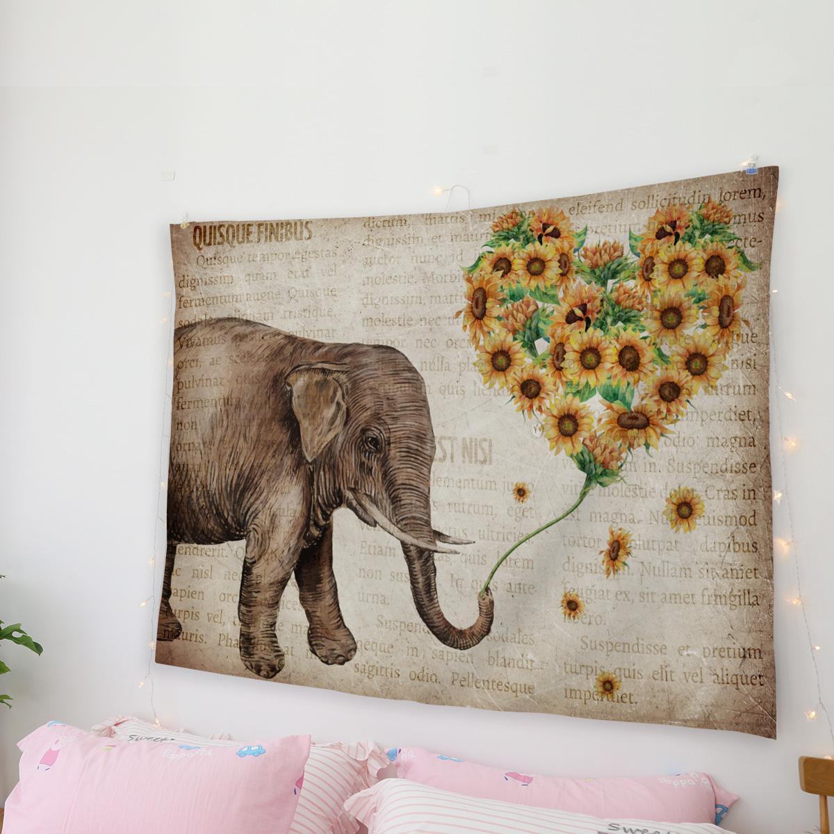 Girasoles de los elefantes del corazón Animales periódicos viejos Vintage Tapiz de pared del arte en la pared del arte Página principal de la sala de estar Decoración