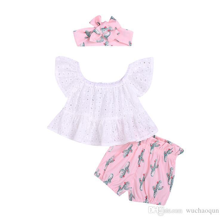 bebê Atacado roupas de grife menina moda verão T da camisa + shorts de Cacto + Cactus Cabelo imprimir 3 peças conjunto de crianças roupas de grife meninas BY0826
