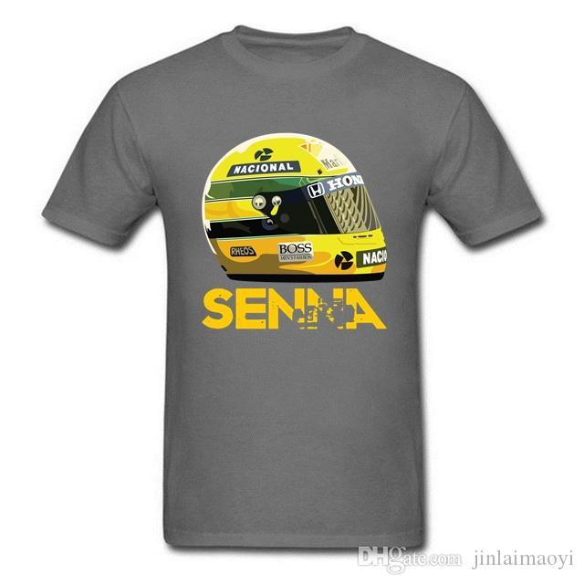 سيارة سباق العالم بطل أسطورة رجل t قميص ايرتون سينا خوذة الزى قمم قمزة الإبداعية malet- قميص الصيف الرجال الأساسي teeshirt
