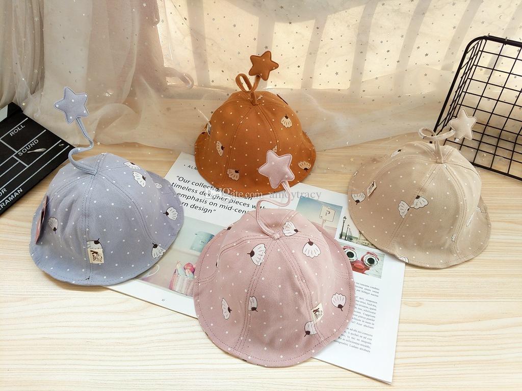 4 couleurs bébé chapeau de pêcheur à large bord chapeau parasol soleil protection en plein air 0-2 ans infantile kid belle étoile pliable casquettes de pêche