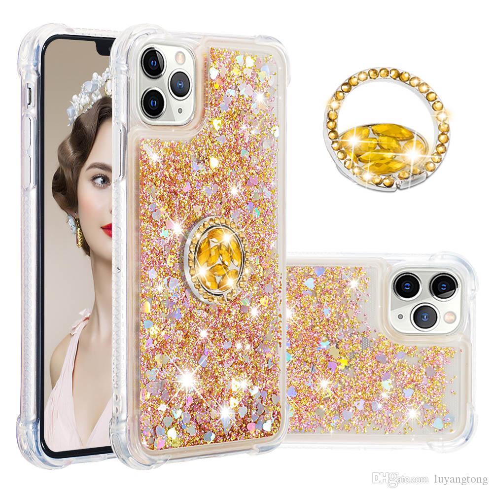 Glitter luxe anneau liquide téléphone pour l'iphone 11 Pro Max Cas coeur d'amour Quicksand pour iPhone XS Max XR antichocs cas
