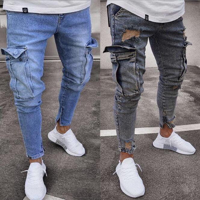 Fashion- Mens Skinny Jeans 2019 annata di modo blu denim pantaloni due tasche Design Via a forma di matita dei jeans libero shippipng