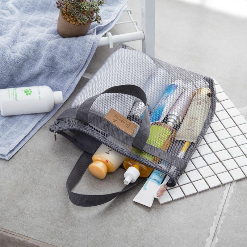 Tragbarer Mesh-Transparent Kulturhandtasche Große Kapazität Cosmetic Organizer-Taschen im Freien Spielraum-Strand-Tasche Make-up-Einkaufstasche VT1557 T03