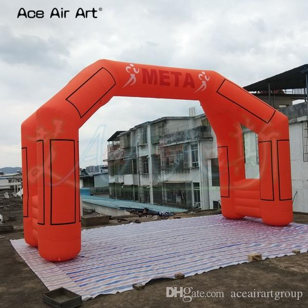 6x3.8m Yellow Giant archway inflatable sport arch,start finish archline with 16 pcs black sticker boxes and removable logo artwork for CA