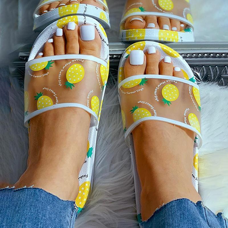 Adisputent Sommerschuhe Frauen Slides Weibliche Schuhe Karikatur-Frucht-Ananas-Pfirsich-Mädchen-Flipflop-Sandelholz-Strand-Slides