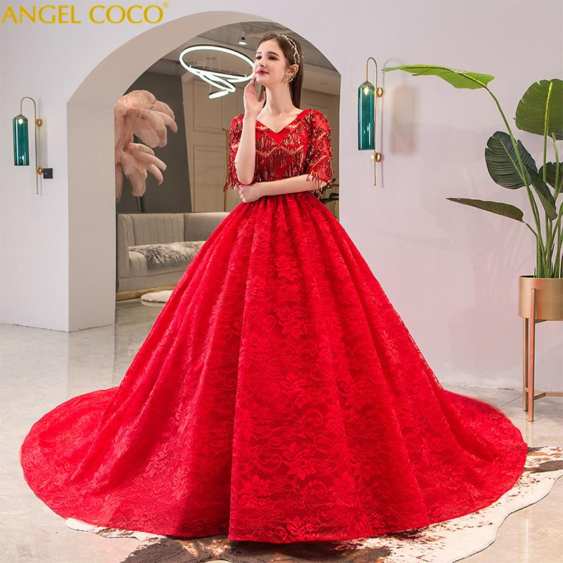 Abiti Da Sposa Donna.2020 Red Maternity Wedding Dress Royal Golden Sequins Beaded
