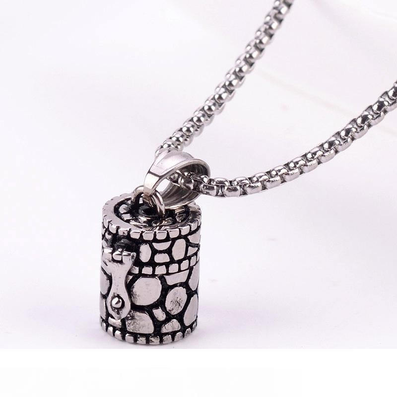 Openable Ashes Box Pendant Urn Chain Vintage Beads Chains Necklace Titanium Steel Pet Cremation Jewelry Memorial Keepsake Ash Holder GZ204