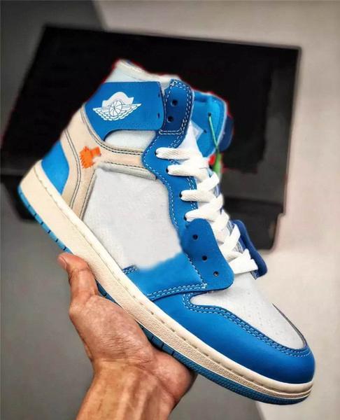 2020 nuevos zapatos de 1 UNC Powderblue blanca 1S mujeres de los hombres de baloncesto auténtico hombre calidad de la mujer zapatillas de deporte con la caja original AQ0818-148TDtl #