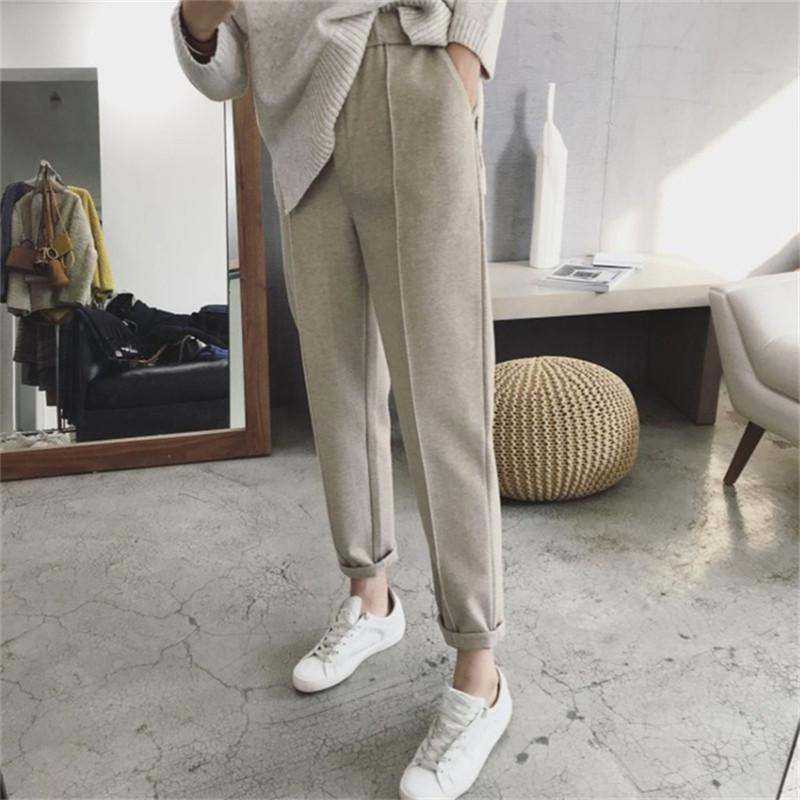 Mazefeng New 2020 Autumn Winter Women Pant High Waist Pocket Korean Minimalist Style Fashion Ankle-Length Casual Pants XS-4XL