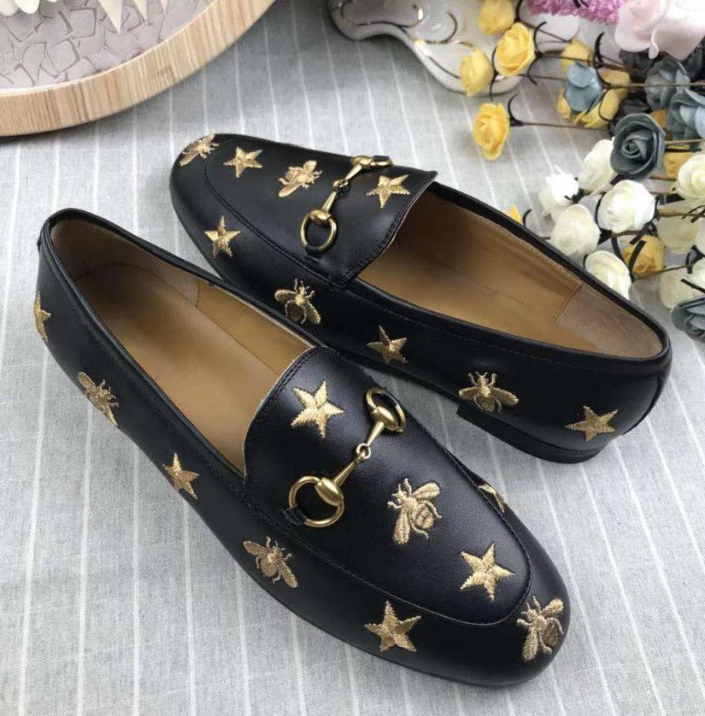 New star bee lady flat bottom leather shoes full leather size, full size 35-41 black. Beige xshfbcl
