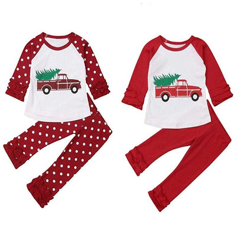 Kids Christmas Roupas Set Lace Long Mangas Dot Dot Car Cartoon Impresso Top + Dot Flare Calças Terno Outfits Roupas Xmas Menina T-shirt GGA2696
