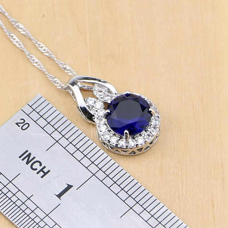 925 jóia de prata azul Cubic Zirconia Jóias Branco Zircon Mulheres Brinco pingente de colar Anéis Pulseira partido Conjuntos de Jóias