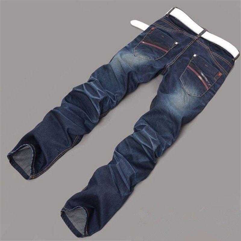 Мужские джинсы мода синие стирки мужчины повседневные брюки корейский тонкий подходят джинсовые брюки проблемных мужских брюк