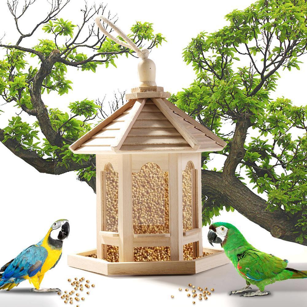 Di legno appeso Bird Feeder per decorazione dell'iarda del giardino di esagono a forma di con tetto