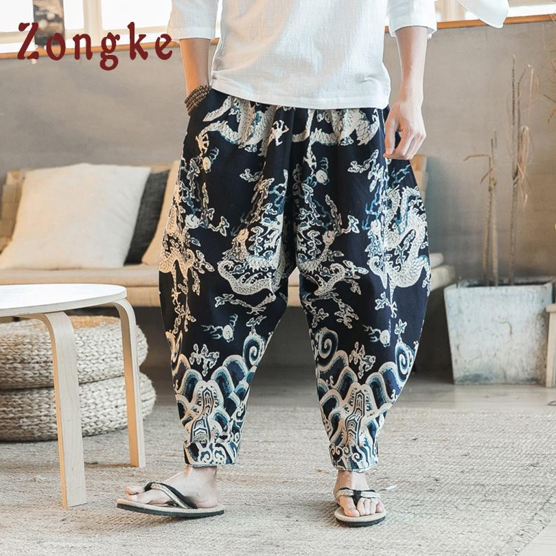 vendita all'ingrosso modello cinese drago pantaloni gamba larga uomo pantaloni giapponese streetwear pantaloni hip hop uomo pantaloni pantaloni uomo 2019 primavera